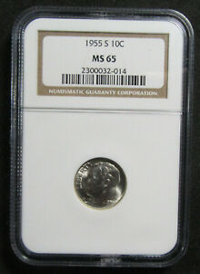 1955 S 10C NGC MS65. NICE AND LUSTROUS ROOSEVELT.   919283