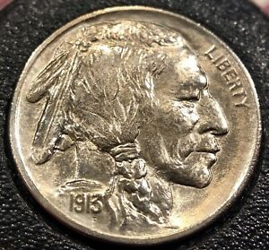1913 BUFFALO NICKEL   TYPE 1   BU / BRILLIANT UNCIRCULATED   CLEANED