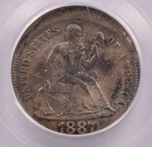 PCGS 10C 1887 SEATED DIME 5  OFF CENTER MS64