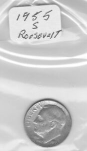 1955 S ROOSEVELT DIME 90  SILVER NICE DIME