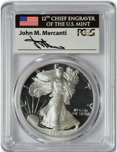 Click now to see the BUY IT NOW Price! 1995 W PROOF AMERICAN SILVER EAGLE PCGS PR70DCAM MERCANTI SIGNED LABEL