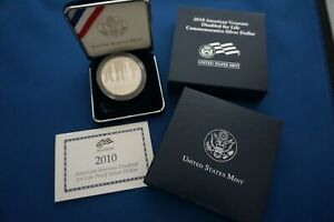 2010 'W'  AMERICAN VETERANS DISABLED FOR LIFE PROOF SILVER DOLLAR W/BOX & COA