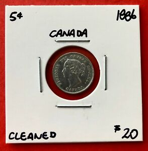 1886 CANADA SILVER FIVE 5 CENT COIN   $20 CLEANED