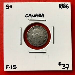 1886 CANADA SILVER FIVE 5 CENT COIN   $37 F 15