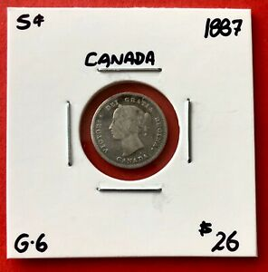 1887 CANADA SILVER FIVE 5 CENT COIN   $26 G 6