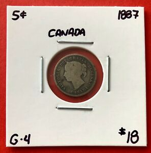 1887 CANADA SILVER FIVE 5 CENT COIN   $18 G 4