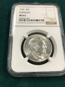 1936 ARKANSAS ROBINSON HALF DOLLAR NGC MS63