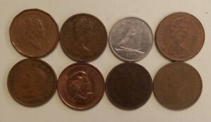 LOT OF EIGHT  8  CANADIAN COINS. 7 PENNIES & 1 DIME.