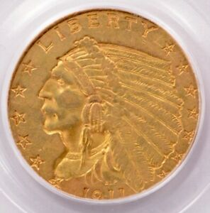 PCGS $2.5 1911 INDIAN QUARTER EAGLE BROADSTRUCK AU53