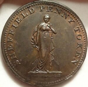 1813 GB OVERSEERS OF POOR SHEFFIELD PENNY 1P TOKEN DH 126 W 991 OLD PROVENANCE