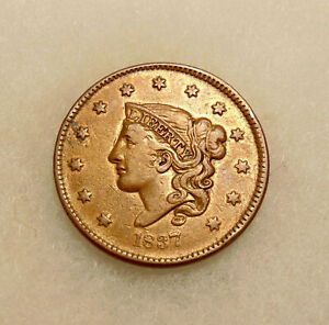 1837 LARGE CENT   PL CORDS / MED LETTS   NICE LOOKING COIN