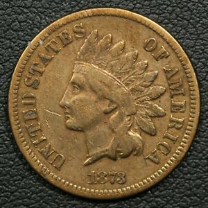 1873 OPEN 3 INDIAN HEAD CENT COPPER PENNY   CLEANED