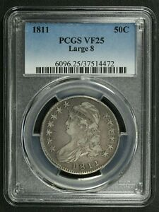 1811 LARGE 8 CAPPED BUST SILVER HALF DOLLAR PCGS VF 25