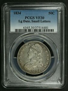 1834 LARGE DATE SMALL LETTERS CAPPED BUST SILVER HALF DOLLAR PCGS VF 30