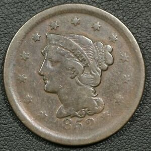 1852 BRAIDED HAIR COPPER LARGE CENT   CLEANED