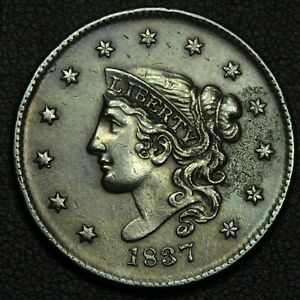 1837 CORONET MATRON HEAD COPPER LARGE CENT   CLEANED
