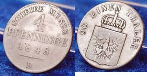 OLD GERMAN STATES PRUSSIA 4 PFENNIG 1848 D SELTENES YEAR AND MINT MARK SS