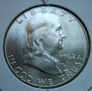 VERY UNIQUE 1962 UNCIRCULATED FRANKLIN 50C WITH CRYING TEARS ERROR
