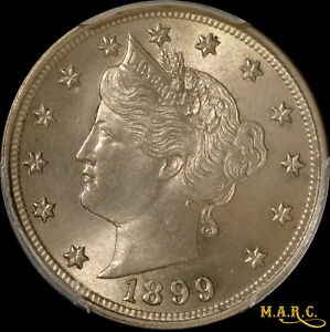 1899 MS65 PCGS 5C LIBERTY NICKEL SHARP DETAILS WITH NICE PEWTER TONING  MARC