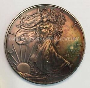 2015 BEAUTIFUL TONED UNCIRCULATED AMERICAN SILVER EAGLE .999 SILVER
