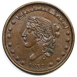 1837 LOW 35 R 2 NOT ONE CENT FOR TRIB. HARD TIMES TOKEN