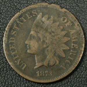 1873 INDIAN HEAD CENT COPPER PENNY   DAMAGE
