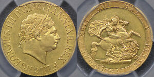 GREAT BRITAIN 1820 SOVEREIGN WITH SMALL DATE   PCGS AU53