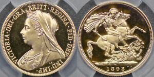 GREAT BRITAIN  1893 PROOF VEILED HEAD SOVEREIGN   PCGS PR65DC