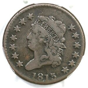 1813 S 292 R 2 PCGS VF 25 CLASSIC HEAD LARGE CENT COIN 1C