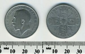 GREAT BRITAIN 1920   1 FLORIN SILVER COIN   KING GEORGE V   2