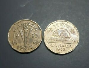 LOT OF CANADA 1942 AND 1943 TOMBAC 5 CENTS COIN.