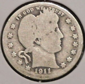 BARBER QUARTER   1911   HISTORIC SILVER    $1 UNLIMITED SHIPPING.