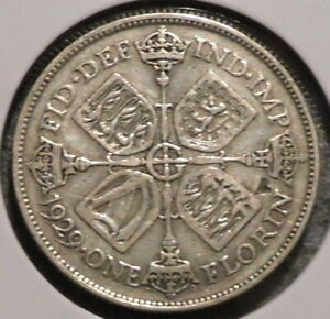 BRITISH FLORIN   1929   OVERSTOCK SALE    $1 UNLIMITED SHIPPING  40