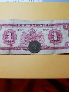 1944 CURACAO COIN 2 1/2 CENTS   1942 WORN 1 GULDEN BANK NOTE
