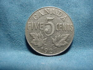 1927 CIRCULATED CANADIAN  FIVE CENT GEORGE V