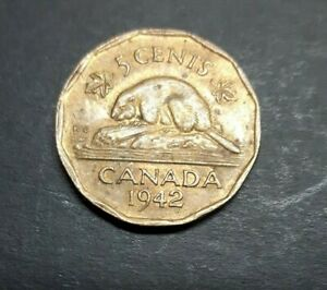CANADA 1942 TOMBAC 5 CENTS COIN.