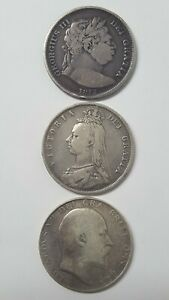 GREAT BRITAIN HALF CROWN A SET OF THREE: 1817 1887 1910