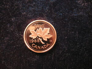 OLD WORLD PROOF COIN CANADA 1 CENT 1988 KM132