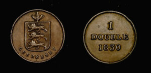 GUERNSEY 1 DOUBLE 1830 FIRST DATE AXF