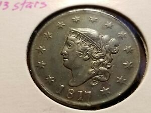 1817 CORONET HEAD LARGE CENT 13 STARS UNCIRCULATED   INV09    P445