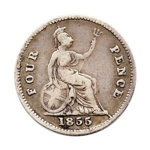 KM 731   FOUR PENCE   GROAT   QUEEN VICTORIA   GREAT BRITAIN 1855  F