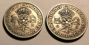 LOT OF 2   GREAT BRITAIN  UK  1948 FLORIN  TWO SHILLINGS COINS   KING GEORGE VI