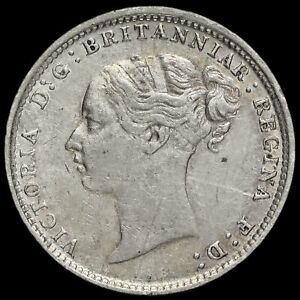 1885 QUEEN VICTORIA YOUNG HEAD SILVER THREEPENCE GVF