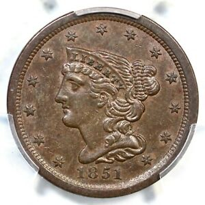 1851 PCGS AU 58 BRAIDED HAIR HALF CENT COIN 1/2C
