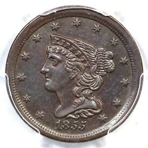 1855 C 1 PCGS AU 58 BRAIDED HAIR HALF CENT COIN 1/2C