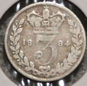 BRITISH SILVER THREEPENCE   1884   QUEEN VICTORIA   $1 UNLIMITED SHIPPING