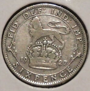 BRITISH SILVER SIXPENCE   1927   KING GEORGE V   $1 UNLIMITED SHIPPING