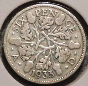 BRITISH SILVER SIXPENCE   1933   KING GEORGE V   $1 UNLIMITED SHIPPING