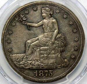 1875 T $1 TRADE SILVER DOLLAR  PCGS PR55 GOLD SEAL TONING ON BOTH SIDES