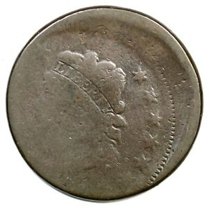 1808 1814  OFF CENTER CLASSIC HEAD LARGE CENT COIN 1C